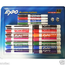 Expo Dry Erase Marker Pens Chesel & Fine Tip Low odor Whiteboard Pens Pack of 18