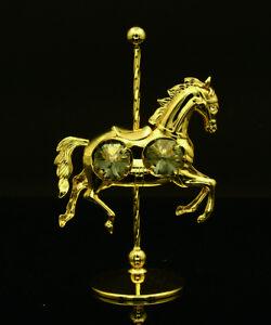 SWAROVSKI CRYSTAL ELEMENT STUDDED CAROUSEL PONY FIGURINE 24K GOLD PLATED