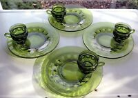 """Indiana Colony Glass 4 Green Kings Crown 10"""" Snack Luncheon Plate 8 oz Cup Sets"""
