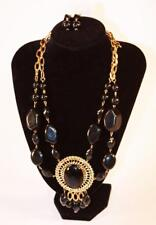Necklace & Earrings Set Premium Fashion Jewelry Gold Tone Black Stones JXDM New