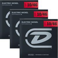 3 Sets Dunlop DEN1046 Nickel Plated Steel Electric Guitar Strings Light 10-46