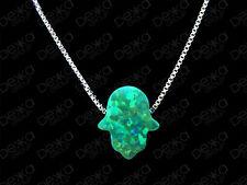 925 Sterling Silver Opal Hamsa Hand Of Fatima Pendant Necklace Green Opal Hamsa