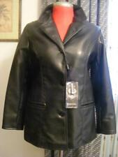 New R.G.A Black Leather jacket L Large 10 12 button blazer jacket with pockets