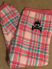 fleece Skull Lounge Pants Pajamas Plus Size  1X Pink Plaid