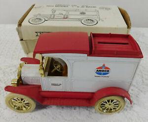 Vintage ERTL Amoco Antique 1913 Model T Van Locking Coin Bank with Key & Box! ~