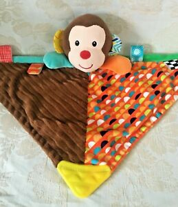Linzy Monkey Plush Rattle Tags Teether Security Blanket Lovey Blankie Plush Toy