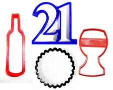 21 BIRTHDAY PARTY CELEBRATION TWENTY-ONE WINE GLASS BOTTLE COOKIE CUTTER PR1037