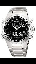 Pulsar Men's Dual Time  Digital Analogue Stainless Steel Bracelet Watch PM7009X1