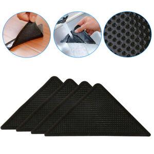 4pcs Rug Grippers Stopper Anti Slip Rubber Corner Mats Washable Carpet Pad