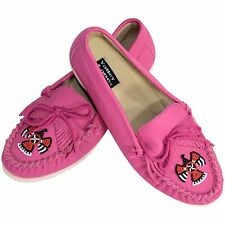Women's 8.5M Pink Leather Moccasins Beaded Flats Valley Lane Shoes