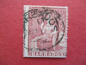 SG25 1861 Victoria Barbados 4d Rose Red Nice Barbados Postmark Used