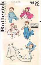 Vintage 1950s Butterick 8800 BABY DOLL CLOTHES FOR 11-12 INCH DOLLS