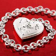 Bracelet Bangle Genuine Real 925 Sterling Silver S/F Ladies Heart Charm Design