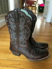 New Ariat Women's 9.5 B Legend Square Toe Cowboy Western Brown Oiled Rowdy 15825