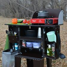 Folding portable camping kitchen table. Camp kitchen organizer. Chuck Box.
