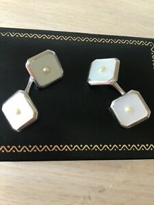 Art Deco 9 ct white gold cuff links with pearl centres