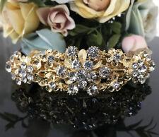 Gold tone with silver rhinestone crystal hair barrettes metal hair clip ha3080g