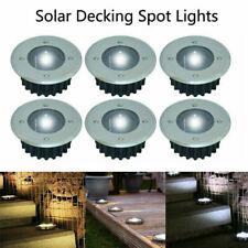 Solar Powered LED Decking Floor Spot Lights White Stainless Garden Lamp N0V0