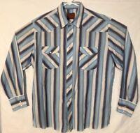Rustler Mens Shirt XL Blue Western Pearl Snap Long Tails Rodeo Stripes Cowboy