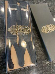New RRL Ralph Lauren Floral Silk Black Jacquard Suspenders Braces Men's $295
