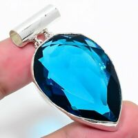 "London Blue Topaz Gemstone Handmade Ethnic Jewelry Pendant 1.97"" VJ-11710"