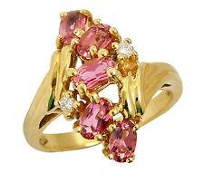 Women's Luxury Pink Tourmaline & Diamond Gemstone Ring in 14k Solid Yellow Gold