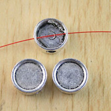 10pcs Tibetan silver crafted flat round cover charms H1239