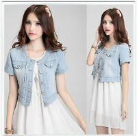 Hot Womens Denim Distressed Crop Denim Jean Jacket Short sleeve coat Ring/AA