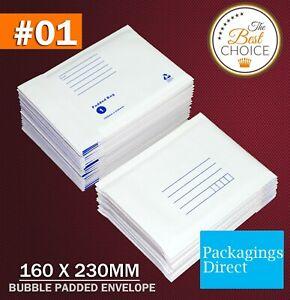 200x Padded Bag 01 Bubble Envelope 160 x 230mm White Printed