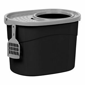 IRIS USA Top Entry Cat Litter Box With Scoop Black/Gray Large