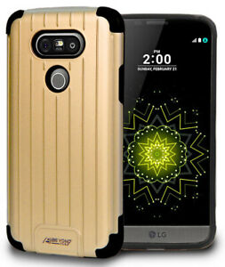 GOLD MATTE METALLIC SLIM DUO-SHIELD CASE RUGGED RIBBED HYBRID COVER FOR LG G5