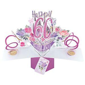 60th Birthday Card 3D Pop Up Card Female Sister Mum Gran Gift Card