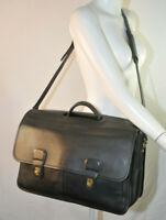 Vintage COACH Prescott Leather Briefcase Executive Attache Laptop Bag Black Gold