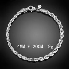 mens/womens 8 inch  diamond cut 4mm rope chain bracelet silver plated