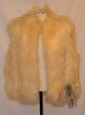 Fab! NOS VTG REAL mongolian LAMB CURLY FUR apres ski VEST JACKET COAT sz MEDIUM