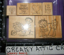 STAMPIN UP BE MINE 6 RUBBER STAMPS HEARTS BALENTINE KIDS