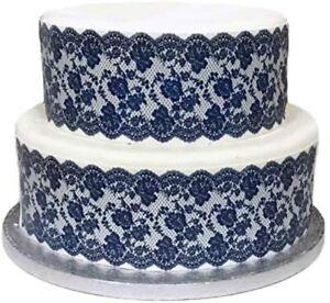 Spitze eßbar Tortenband Tortenbild Party Deko Geburtstag blau navy Hochzeit Lace
