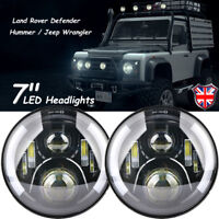 "PAIR 7"" LED PROJECTOR HALO HEADLIGHT E MARKED RHD 110 90 FOR LAND ROVER DEFENDER"