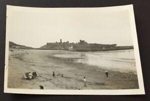 "Photograph Peel Castle 1953 Isle of Man Beach Deckchairs People 3.5"" x 2.5"" 2091"