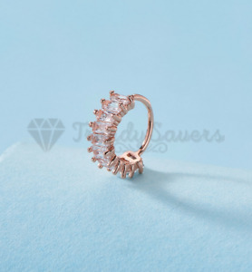 18ct Rose Gold Plated Hypoallergenic Crystal Stud Hoop Nose Ear Cartilage Ring