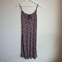 Vintage 90s Cami Midi Dress XS Black Pink Floral Ribbon-Neck Bias-Cut Rayon