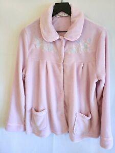 Jasmine Rose Womens Size Medium Pink Plush Fleece Embroidered Bed Jacket