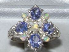 Victorian   Hallmarked Sterling Silver Natural Tanzanite & Fiery Opal Ring