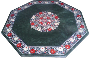 Green Marble Coffee Table Top Carnelian Floral Inlay Arts Marquetry Decors H2876