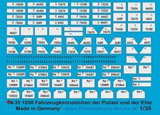 Peddinghaus-Decals 1/35 1050 Fahrzeugkennzeichen der Polizei und der Eliteverbän