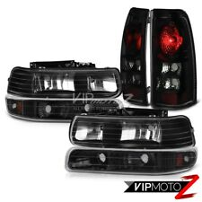 99-02 Chevy Silverado 1500 SINSITER BLACK Bumper Signal Headlight Tail Lights