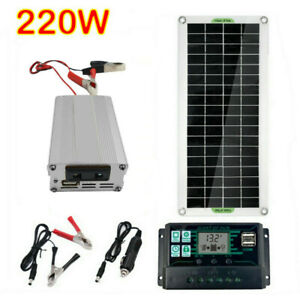 220W Solar Panel Kit 12V to 220V Battery Charger RV Travel Trailer Camper Van
