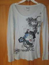 LUCKY BRAND Sz M seafoam green thermal knit top Asian Dragon print Chic Unique
