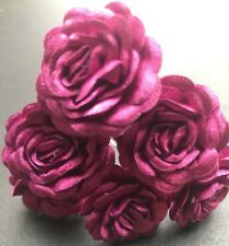 6 Bridal Wedding Mamenta Pink rose Flower Hair Pins Clips Grips Handmade