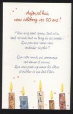 NEUF CARTE ANNIVERSAIRE 80 ANS + ENVELOPPE !! 10 CARTES ACHETEES = PORT GRATUIT
